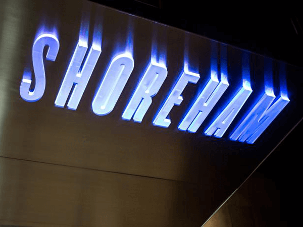 Awning with lit Shoreham sign